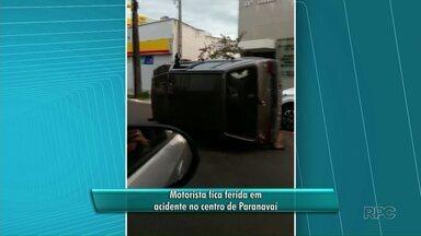 Motorista fica ferida em acidente no centro de Paranavaí - Segundo a Polícia Militar, motorista perdeu o controle do carro depois de bater em outro veículo que estava estacionado