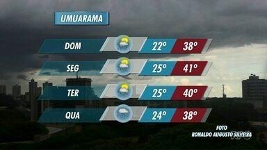 Semana vai começar com muito calor na região Noroeste - Em Umuarama, a previsão é de que os termômetros cheguem a marcar 41 graus na próxima segunda-feira.