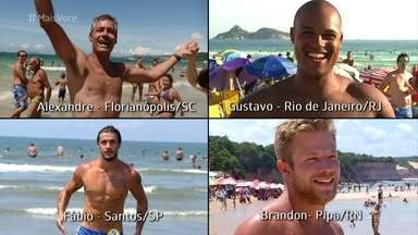 Conheça os candidatos a bonitão da praia no 'Mais Você' - Os quatro eleitos nas praias brasileiras disputam o título nacional e pedem votos