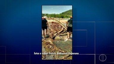 Polícia Ambiental destrói armadilhas de pesca irregular em Laje do Muriaé - Assista a seguir.