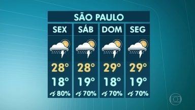 Chuva continua neste sábado (21) em São Paulo - Estamos com um corredor de nebulosidade entre o Norte do país e o Sudeste e a característica principal desse corredor é provocar essa chuva constante.