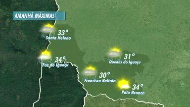 O sábado será de sol com pancadas de chuva no oeste e sudoeste - As temperaturas máximas ficam acima dos 30 graus.