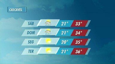 Calor deve aumentar no fim de semana no oeste do estado - A máxima em Cascavel no domingo pode chegar aos 34 graus.