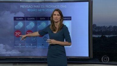 Rio deve ter mais um dia de calor chuva nesta quarta-feira (25) - A temperatura pode chegar aos 39 graus e chuva isolada no fim do dia. Só na quinta-feira (26) é que aumenta a possibilidade de temporal com chuva já a partir da tarde.
