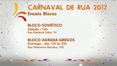 Veja programação dos ensaios dos blocos de carnaval no sábado (28) e domingo (29) - Os bloquinhos já invadiram as ruas da capital paulista. Os preços dos ingressos variam de R$ 40 a R$ 180. Veja a programação do sábado (28) e (29).