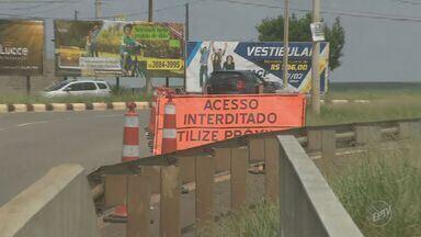 Trevo do Laranjão é interditado para recuperação do asfalto em Paulínia - A previsão é de que o trecho, no km 122 da Rodovia Zeferino Vaz (SP-332), seja liberado até às 18h deste sábado (11).