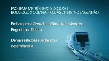 Metrô e Supervia montam esquema especial para jogo da Libertadores, no Rio - O embarque na Central até o último trem vindo do Engenho de Dentro. Demais estações estarão abertas para desembarque. A Supervia vai oferecer 12 mil lugares em seis viagens extras para o público depois do jogo.