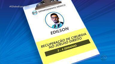 Edílson tem lesão confirmada e desfalca o Grêmio por mais 15 dias - Lateral sofre o problema em jogo-treino dias antes de ser liberado de vez para voltar aos gramados pelo Grêmio.