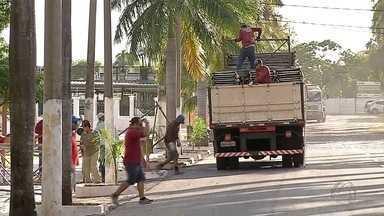 Começa montagem da estrutura do carnaval de Corumbá - Desfiles de escolas e blocos são na avenida Generoso Ponce. Conselho Regional de Engenharia fiscalizou os trabalhos de montagem da estrutura.