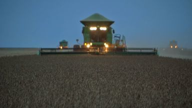 Colheita avança pela noite em algumas regiões do estado - No médio-norte do estado as máquinas colhem a soja durante a noite. O trabalho é necessário para concluir a colheita em dias que chove menos.