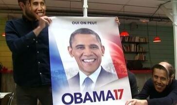 Grupo faz campanha para candidatura de Barack Obama à presidência da França - Uma petição na internet e cartazes espalhados pelas ruas de Paris tentam emplacar o nome do ex-presidente americano como candidato na eleição presidencial da França em abril.