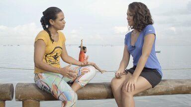 Renata Menezes mostra os benefícios do slackline - Renata Menezes mostra os benefícios do slackline