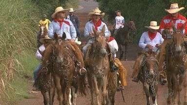 Grupo de romeiros vai percorrer 500 quilômetros montado em mulas - A viagem de Serra Azul, SP, com destino a Basílica de Aparecida deve durar 13 dias.