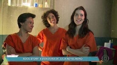 Confira os bastidores da prisão de Júlia em 'Rock Story' - Mocinha vivida por Nathália Dill amarga dias difíceis na cadeia.