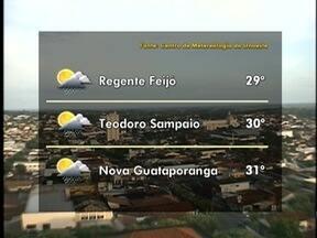 Meteorologia prevê pancadas de chuva para o Oeste Paulista - Veja como fica o tempo em algumas cidades da região.