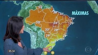 Confira a previsão do tempo para a quinta-feira (13) - Veja como fica o tempo em todo país.