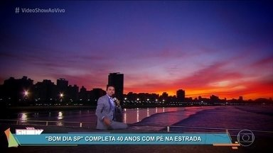 Equipe do 'Bom Dia SP comemora 40 anos do jornal - Rodrigo Bocardi comanda o programa especial com pé na estrada e direito a cenário paradisíaco