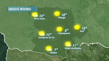 Final de semana com sol na região dos Campos Gerais - Uma frente fria se aproxima pelo sul o que deve derrubar as temperaturas neste final de semana, mas sem chuvas. Neste sábado mínimas de 8º em Guarapuava e 11º em União da Vitória.