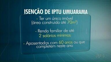 Moradores de Umuarama e Paranavaí tem até o fim do mês pra pedir isenção do IPTU - Em Cianorte o prazo termina no dia 10 de novembro.
