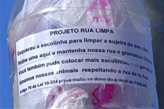 Iniciativa incentiva descarte de fezes de cachorros em Mogi das Cruzes - Moradora instalou distribuidores de sacolas plásticas para donos de animais recolherem fezes após passeios em condomínio.