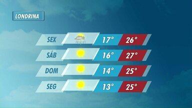 Chove na sexta-feira, mas final de semana deve ser de sol em Londrina - Temperaturas começam a cair a partir do sábado.