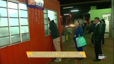 Valor da tarifa do transporte público de Cascavel vai aumentar - De R$ 3,30 a passagem vai para R$ 3,55.