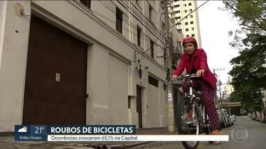 Roubos de bicicleta disparam nos quatro primeiros meses do ano em SP - Roubos de bicicleta disparam nos quatro primeiros meses do ano em SP.