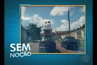 'Sem Noção' flagra passageiro viajando em pé e segurando objeto dentro de mala de carro - Flagrante foi registrado no bairro Estrela, em Castanhal.