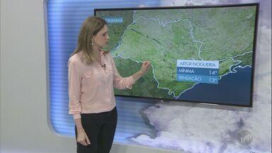 Chance de chuva diminui e previsão é temperaturas baixas para esta terça-feira - Termômetros marcam mínima de 14º Artur Nogueira (SP) e máxima de 25º em Limeira (SP).