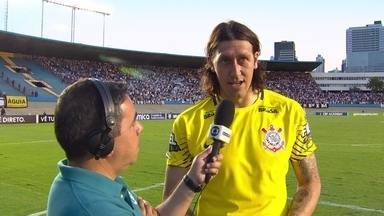 Cássio destaca dificuldade na partida contra o Atlético-GO e comemora boa defesa - Cássio destaca dificuldade na partida contra o Atlético-GO e comemora boa defesa