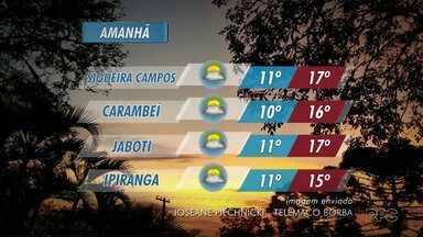 Amanhã ainda tem previsão de chuva para o período da manhã - As temperaturas sobem muito durante o dia, máxima de 16 graus pra Ponta Grossa e Palmeira.