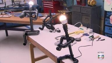 Ana Furtado visita escola em que alunos transformam canos de PVC em arte - Aprenda a fazer luminárias com cano de PVC