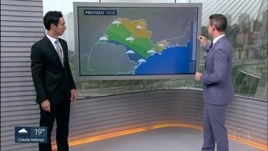 Frente fria deixa o tempo instável e com chuva na capital - Previsão é de máxima de 25 graus para esta segunda-feira (5).