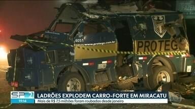 Ladrões já roubaram mais de R$ 7,5 milhões em assaltos a carros-fortes desde janeiro - O valor é bem maior, comparado ao mesmo período do ano passado. Na noite desta segunda (12) aconteceu mais um ataque a dois carros-fortes em Miracatu, no Vale do Ribeira.