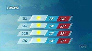 Previsão de sol no fim de semana em Londrina - As temperaturas sobem um pouco.