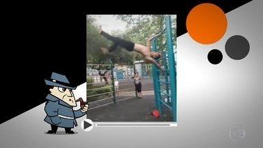 Detetive Virtual desvenda mistério de vídeo de homem que anda sobre o ar - Parece que há uma parede invisível, já que os movimentos são perfeitos. No final, o atleta ainda faz uma dancinha. Será que o rapaz está pisando em quê?