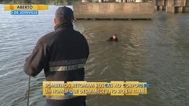 Bombeiros retomam buscar por homem que desapareceu no Rio Itajaí - Bombeiros retomam buscar por homem que desapareceu no Rio Itajaí