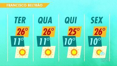 O tempo segue aberto em Francisco Beltrão - A máxima na cidade será de 26 graus.
