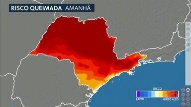 Confira a previsão do tempo para a quarta-feira (12) em São Paulo - Dia de tempo firme em todo o estado. A tarde pode ficar bem seca, principalmente no interior. E o risco de fogo está alto.