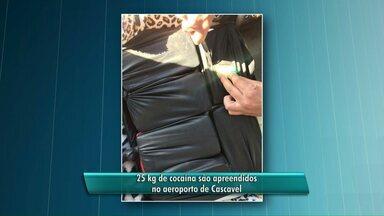 25 kg de cocaína são apreendidos no aeroporto de Cascavel - Droga estava na mala de um rapaz, que foi preso.