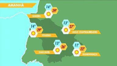 Quarta-feira vai ser de sol e tempo seco no oeste do estado - Em Toledo, Guaíra e Marechal Cândido Rondon a temperatura máxima pode chegar aos 29 graus.