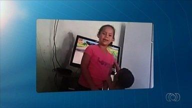 Criança chama o intervalo do Jornal Anhanguera 1ª Edição - Maria Eduarda gravou vídeo para o telejornal.