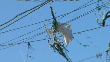 Pipas enroscadas nos fios são a maior causa de queda de energia na região - Em São Carlos, 4,3 mil casas tiveram o fornecimento interrompido nesta sexta por conta do problema.