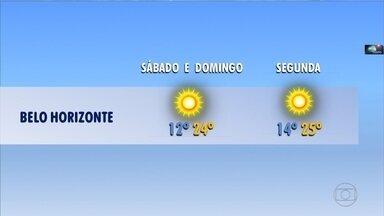 Previsão é de frio para Minas Gerais neste fim de semana - As temperaturas não devem passar dos 25°C neste sábado e domingo. O motivo é a chegada de uma massa de ar frio ao estado.