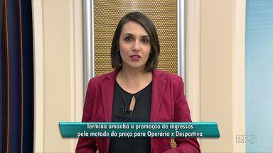 Termina amanhã a promoção de ingressos pela metade do preço para Operário x Desportiva - O jogo é no domingo.