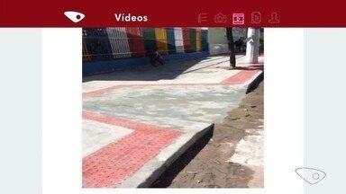 Calçada é construída em frente à escola, em Vila Velha, ES - Vídeo de calçada quebrada havia sido enviado no último mês.