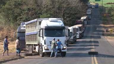Caminhoneiro tenta atropelar manifestantes na rodovia na região de Realeza - Caminhoneiros protestavam na rodovia PR-182