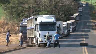 Caminhoneiro fura bloqueio na PR-182 e avança sobre manifestantes - Motoristas faziam um protesto na rodovia contra o aumento no valor dos combustíveis.