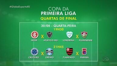 Grêmio e Inter voltam a jogar pela Primeira Liga no fim de agosto - Tricolor encara o Cruzeiro no Mineirão e Inter recebe o Atlético-MG no Beira-Rio.