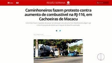 Caminhoneiros fazem protesto na RJ-116, em Cachoeiras de Macacu - Caminhões foram impedidos de passar na rodovia por cerca de uma hora. Manifestantes alegam que o frete foi prejudicado desde que o reajuste do diesel foi autorizado.